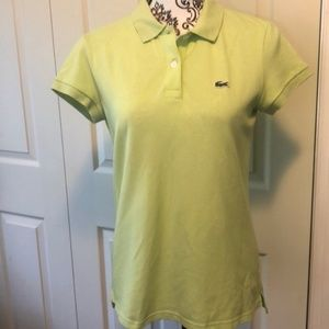 Lacoste Pale Green Collar Polo Buttons Short 42 10